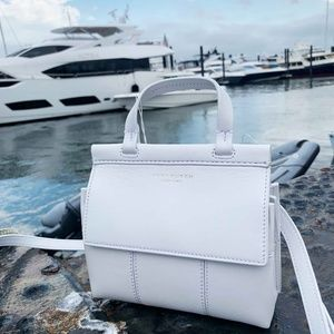 Tory Burch White Block-T Mini Satchel
